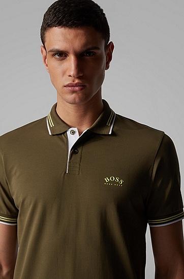 男士弯曲徽标弹力珠地布修身 Polo 衬衫,  303_暗绿色