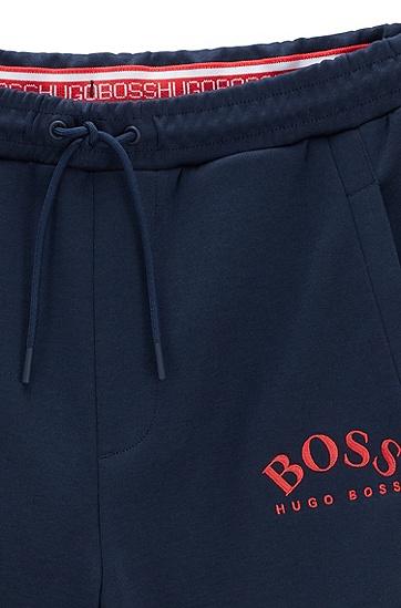 男士弧形徽标修身慢跑裤,  410_海军蓝色