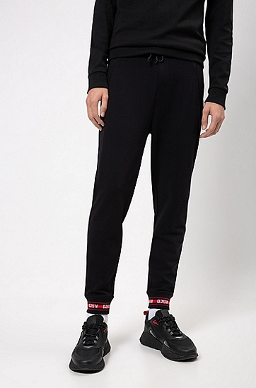 男士撞色徽标针织长裤,  001_黑色