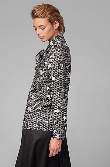 真丝斜纹面料动物印花领结女式衬衫,  960_多色