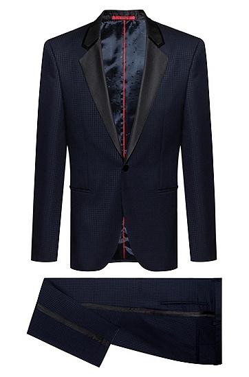 男士羊毛修身西服外套,  405_暗蓝色