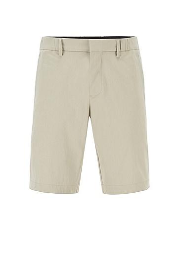 棉混纺弹力多臂面料修身短裤,  277_浅米色
