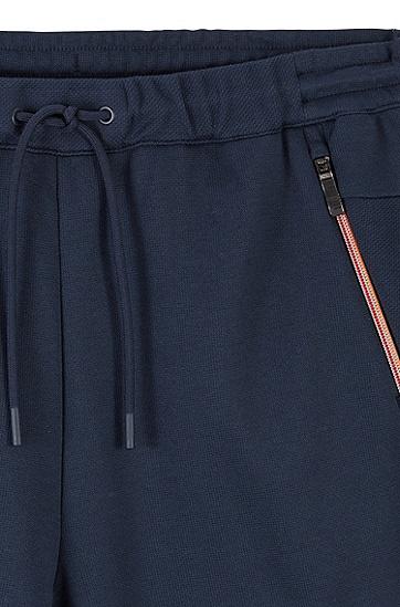 男士拉链饰边修身慢跑裤,  410_海军蓝色