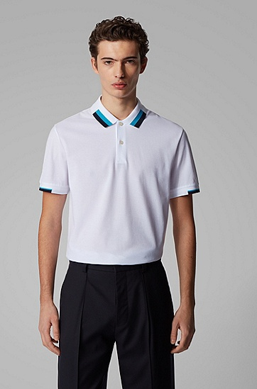 男士撞色常规版 polo 衫,  100_白色