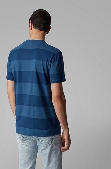 男士粗条纹纯棉 T 恤,  414_海军蓝色
