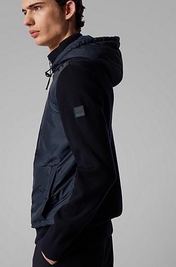 男士同色系衣身兜帽针织上衣,  402_暗蓝色