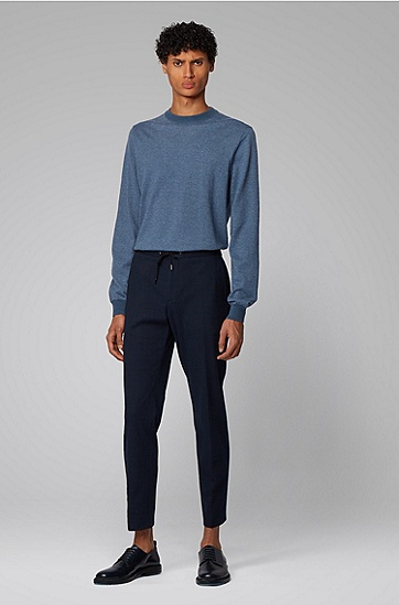 男士Mouliné 棉加亚麻针织毛衣,  473_淡蓝色