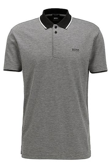 男士三色微图案棉质珠地布 Polo 衫,  001_黑色