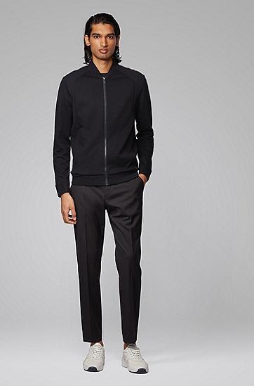 男士棉质混纺拉链运动衫,  001_黑色