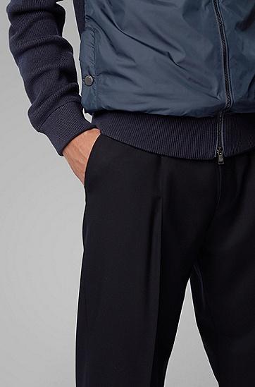 男士罗纹衣袖及突出细节拉链夹克,  402_暗蓝色