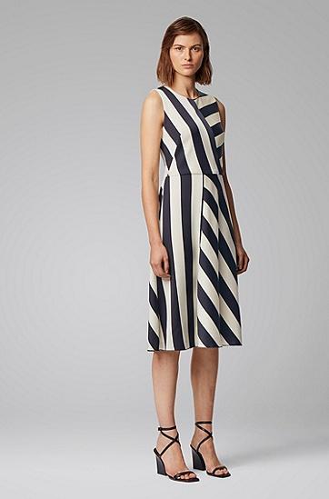 中长款拼接条纹皱褶绉纱连衣裙,  963_多色