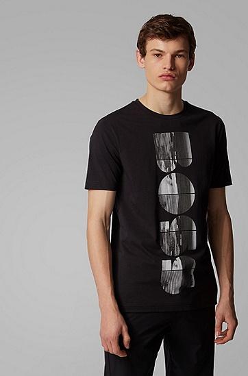 男士照片印花标识艺术图案圆领 T 恤,  001_黑色