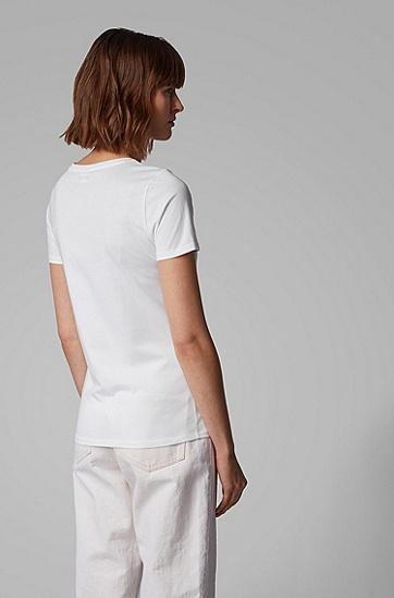 女士圆领印花时尚T恤,  100_白色