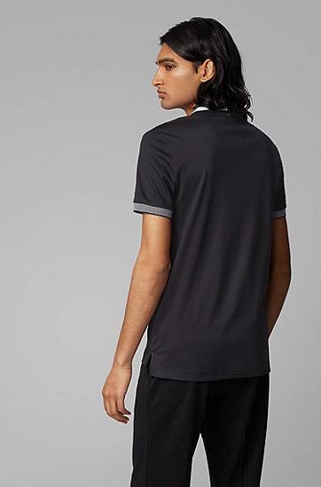 男士棉质条纹领修身版 polo 衫,  001_黑色