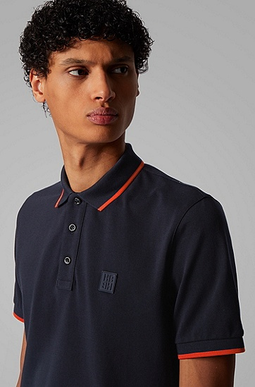 男士硅胶徽标常规版型 Polo 衫,  402_暗蓝色