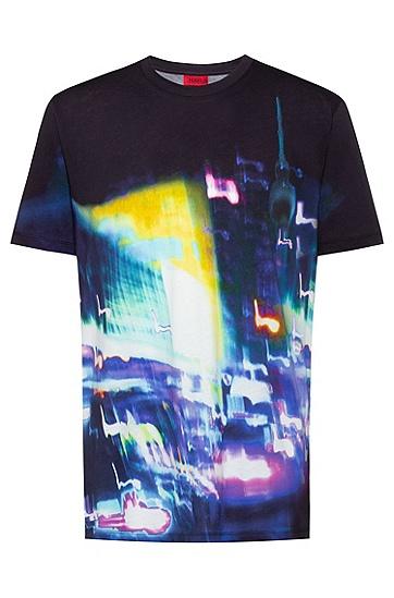 男士都市图案印花常规版型棉质 T 恤,  001_黑色