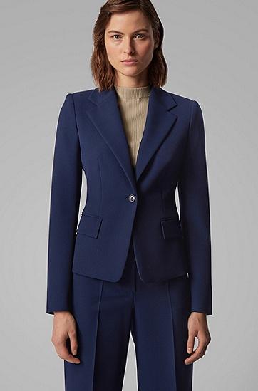 女士常规版型葡萄牙弹力斜纹西服夹克,  466_淡蓝色