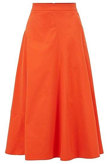 女士棉质混纺斜纹布中长半身裙,  820_亮橙色