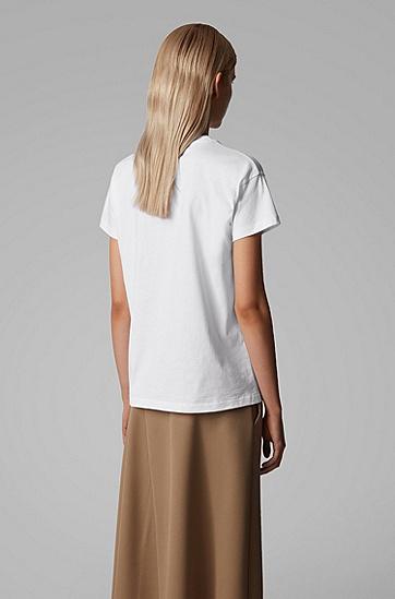 女士交织图案宽松棉 T 恤,  100_白色