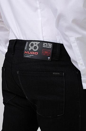 HUGO '93 男士饰片修身牛仔裤,  001_黑色