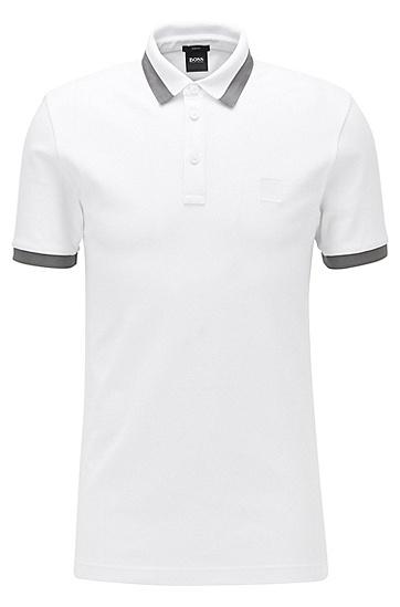 男士橡胶边修身版 Polo 衫,  100_白色