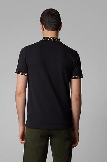男士修身版图案领口与袖口 Polo 衫,  001_黑色