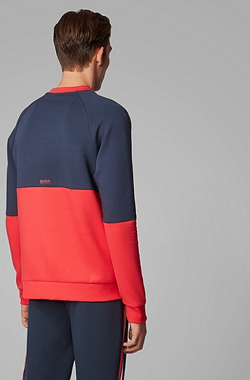 男士配以重复标识提花插片的棉质混纺运动衫,  410_海军蓝色