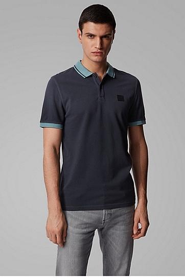 男士对比细节棉质珠地网眼布修身 Polo 衫,  402_暗蓝色