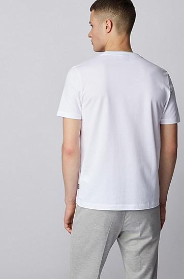 男士华夫格棉质修身 T 恤,  100_白色