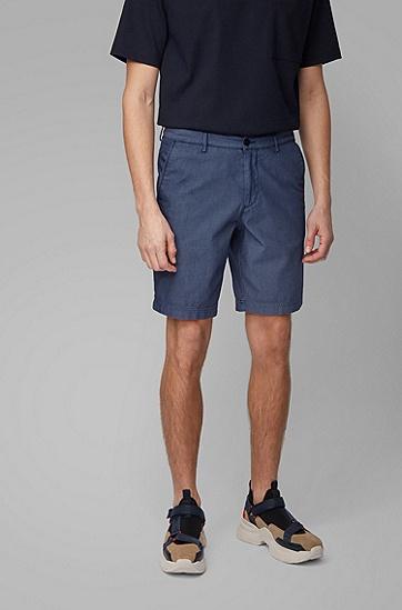 棉质混纺提花修身短裤,  473_淡蓝色