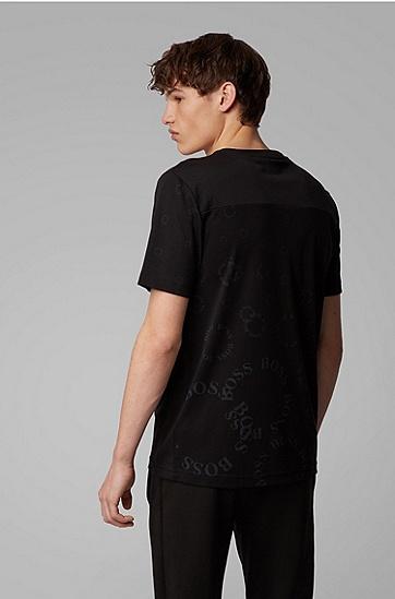 男士层叠金属徽标常规版棉质 T 恤,  012_炭黑色