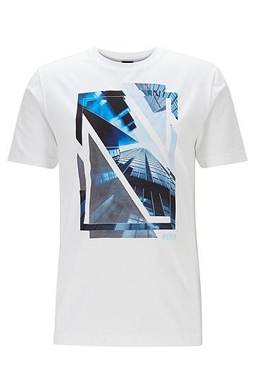 男士网纱图案圆领平纹布 T 恤,  100_白色