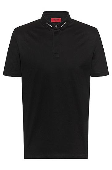 男士饰钉装饰衣领修身 Polo 衬衫,  001_黑色