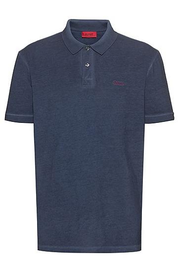 男士Recot2® 棉成衣染色 Polo 衫,  405_暗蓝色