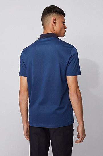 提花图案轻质纯棉 Polo 衫,  407_暗蓝色