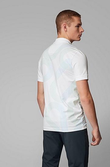 男士徽标印花修身 Polo 衫,  100_白色
