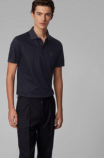 男士丝光棉平针织面料修身 Polo 衬衫,  402_暗蓝色