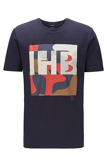 男士字母印花短袖T恤,  402_暗蓝色