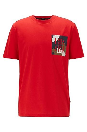 男士交织字母印花常规版型棉质 T 恤,  613_中红色