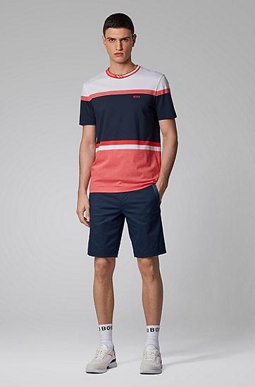 男士常规版撞色条纹 T 恤,  410_海军蓝色