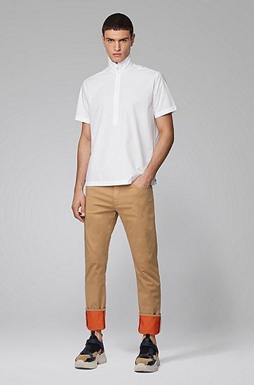 男士撞色卷边意大利平针织面料修身牛仔裤,  232_浅棕色