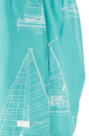 男士印花中长款游泳短裤,  444_水蓝色