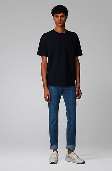男士轻薄柔软弹力修身牛仔裤,  425_中蓝色