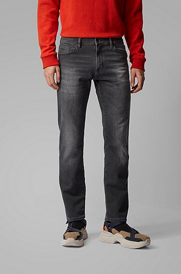 男士黑色涂层针织牛仔面料常规版牛仔裤,  005_黑色