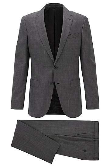 男士微图案初剪羊毛修身西装,  001_黑色