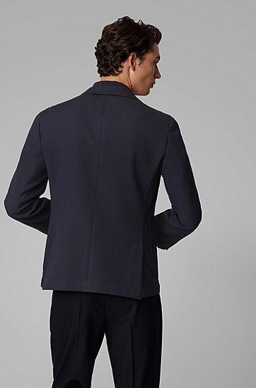 男士初剪羊毛混纺修身夹克,  402_暗蓝色