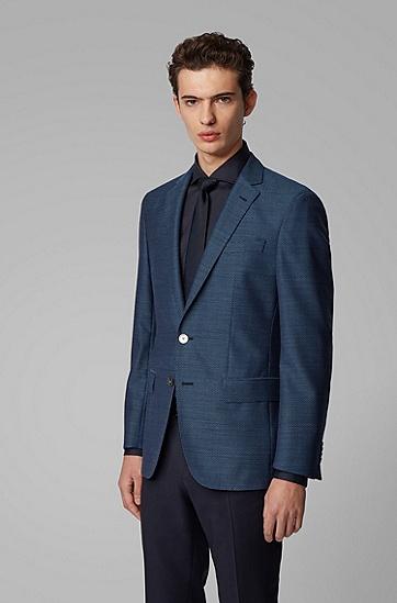 男士初剪羊毛修身西服外套,  407_暗蓝色
