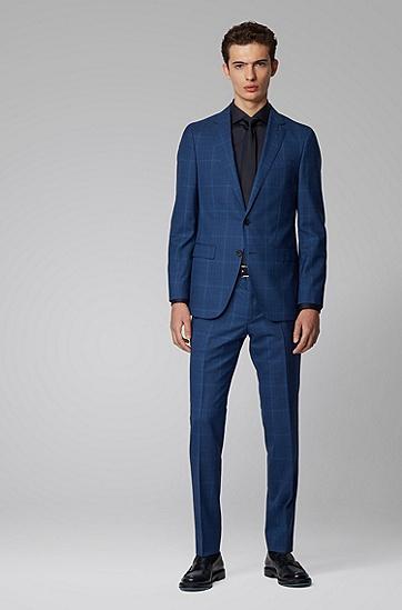 男士修身西服套装,  426_中蓝色