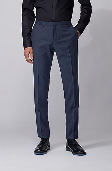 男士条纹羊毛超修身西装三件套,  473_淡蓝色