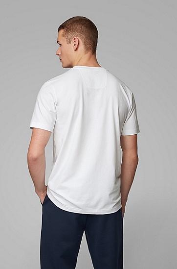 男士徽标印花弹力棉 T 恤,  100_白色